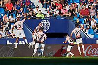 27th October 2019; Estadi Cuitat de Valencia, Valencia, Spain; La Liga Football, Levante versus Espanyol; Bernardo Espinosa of RC Espanyol celebrates with his team mates after scoring the first goal for his team in minute 38' - Editorial Use