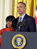 United States President Barack Obama presents the Presidential Medal of Freedom to actress Cicely Tyson during a ceremony in the East Room of the White House in Washington, DC on Tuesday, November 22, 2016.  The Presidential Medal of Freedom is the Nation's highest civilian honor.<br /> Credit: Ron Sachs / CNP