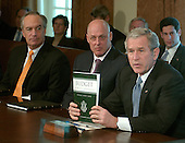 Washington, D.C. - February 5, 2007 -- United States President George W. Bush holds a copy of the budget as he makes a statement following a Cabinet meeting  on the 2008 Budget submitted to Congress today at the White House in Washington, D.C. on Monday, February 5, 2007. Left to right: Secretary of the Interior Dirk Kempthorne, Secretary of the Treasury Henry Paulson, and the President.<br /> Credit: Ron Sachs / Pool