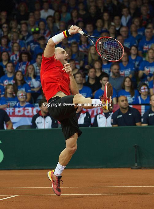 Gent, Belgium, November 28, 2015, Davis Cup Final, Belgium-Great Britain, day two, doubles match, Steve Darcis (BEL)<br /> Photo: Tennisimages/Henk Koster