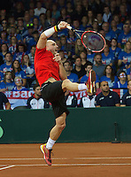 Gent, Belgium, November 28, 2015, Davis Cup Final, Belgium-Great Britain, day two, doubles match, Steve Darcis (BEL)<br /> Photo: Tennisimages/Henk Koster