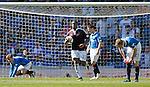 Genero Zeefuik scores a consolation goal for Hearts and retrieves the ball
