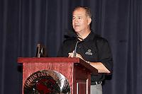 SAN ANTONIO, TX - OCTOBER 17, 2013: University of Texas at San Antonio Roadrunner Quarterback Eric Soza is announced as a member of the Allstate AFCA Good Works Team at John Paul Stevens High School. (Photo by Jeff Huehn)