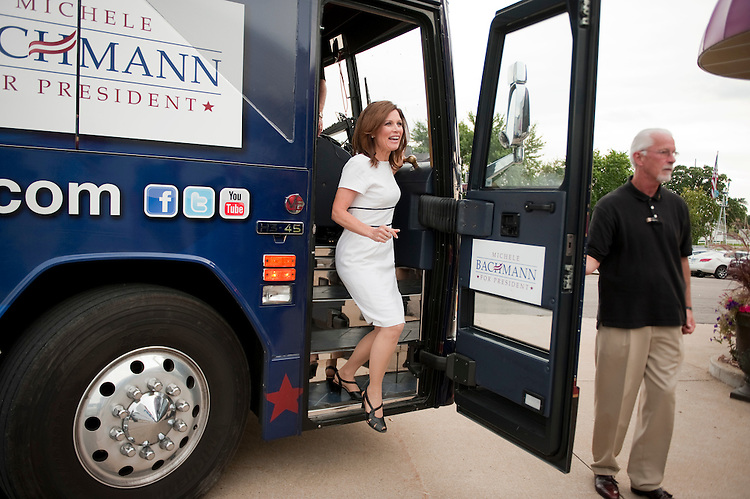 UNITED STATES - AUGUST 14:  Republican presidential candidate Rep. Michele Bachmann, R-Minn., arrives at the Lincoln Day Dinner hosted by the Black Hawk County Republican Party in Waterloo, Iowa.  Candidates Bachmann, Rick Santorum, and Texas Gov. Rick Perry, addressed the gathering.  (Photo By Tom Williams/Roll Call)