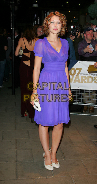 EMMA GRIFFITHS.Arrivals at TV Quick & TV Choice Awards.held at the Dorchester Hotel, Park Lane, London, England, September 3rd 2007.full length purple sheer chiffon dress white purse shoes.CAP/ROS.©Steve Ross/Capital Pictures