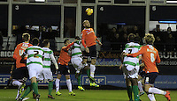 Scott Cuthbert of Luton Town flicks the ball on during the Sky Bet League 2 match between Luton Town and Yeovil Town at Kenilworth Road, Luton, England on 2 February 2016. Photo by Liam Smith.