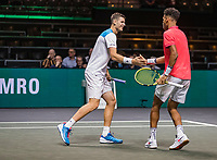 Rotterdam, The Netherlands, 9 Februari 2020, ABNAMRO World Tennis Tournament, Ahoy, Doubles: Felix Auger-Aliassime (CAN) and Hubert Hurkacz (POL).<br /> Photo: www.tennisimages.com