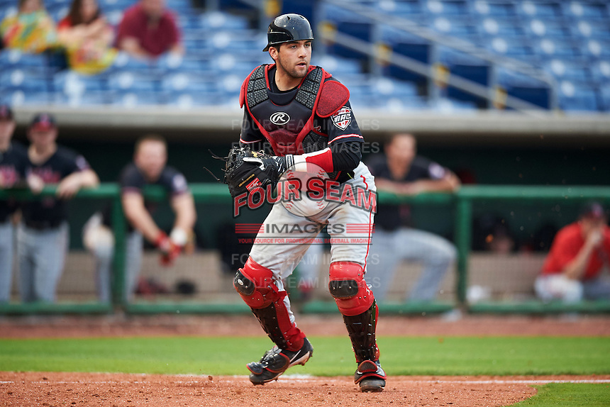 Ball State Cardinals catcher Erek Bolton (11) throws to first base during a game against the Alabama State Hornets on February 18, 2017 at Spectrum Field in Clearwater, Florida.  Ball State defeated Alabama State 3-2.  (Mike Janes/Four Seam Images)