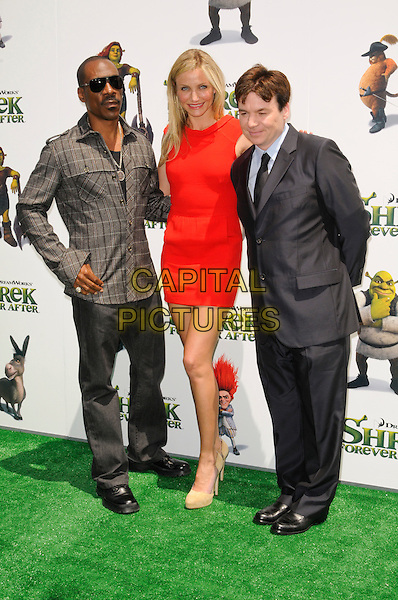 "EDDIE MURPHY, CAMERON DIAZ & MIKE MYERS .at DreamWorks Animation's ""Shrek Forever After"" L.A. Film Premiere held at Gibson Amphitheatre at Universal CityWalk, Universal City, California, USA, May 16th, 2010. .arrivals full length red sleeveless dress mini beige nude suede shoes black suit tie blue grey gray shirt brown plaid checked check trousers cast .CAP/ROT.©Lee Roth/Capital Pictures"