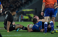 NZ's Ofa Tuungafasi and NZ's Sam Cane tackle France's Remi Grosso during the Steinlager Series international rugby match between the New Zealand All Blacks and France at Eden Park in Auckland, New Zealand on Saturday, 9 June 2018. Photo: Dave Lintott / lintottphoto.co.nz