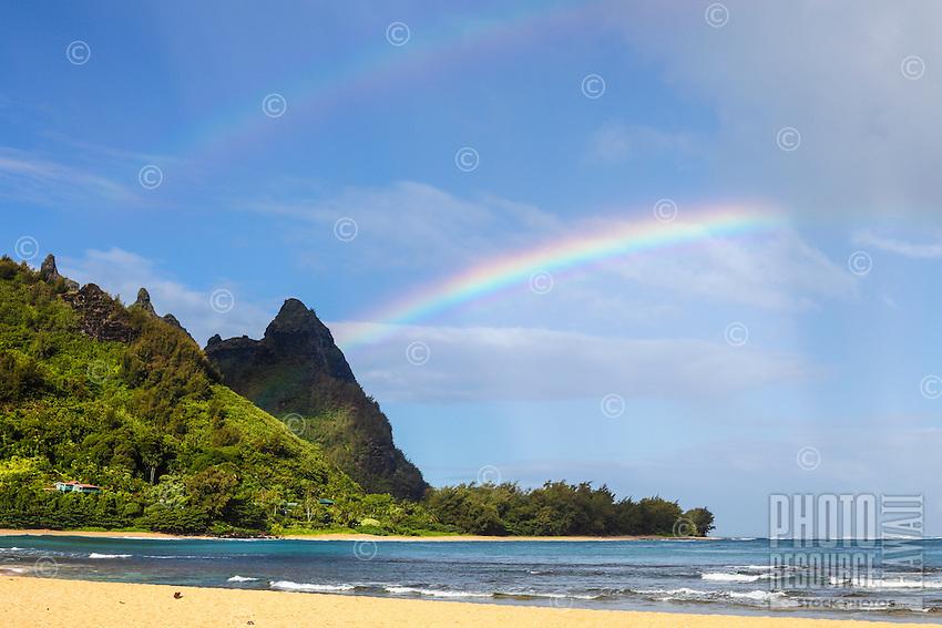A double rainbow over Makana Mountain (or Mt. Makana, also called Bali Hai), northern Kaua'i.