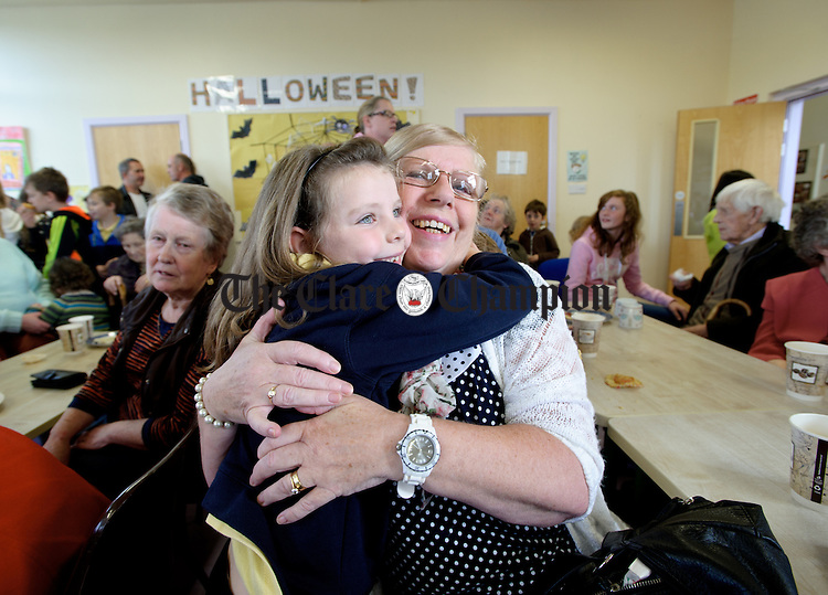 Kathleen Hurry with her grand daughter Gabriella Callaghan during Grandparents day at Feakle National School. Photograph by John Kelly.