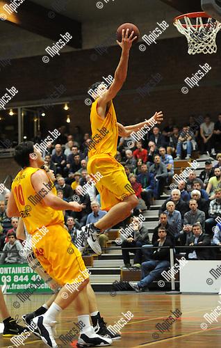 2012-10-23 / Basketbal / Seizoen 2012-2013 / Kangoeroes Boom - Oostende / Wilkonson met de score voor Oostende..Foto: Mpics.be