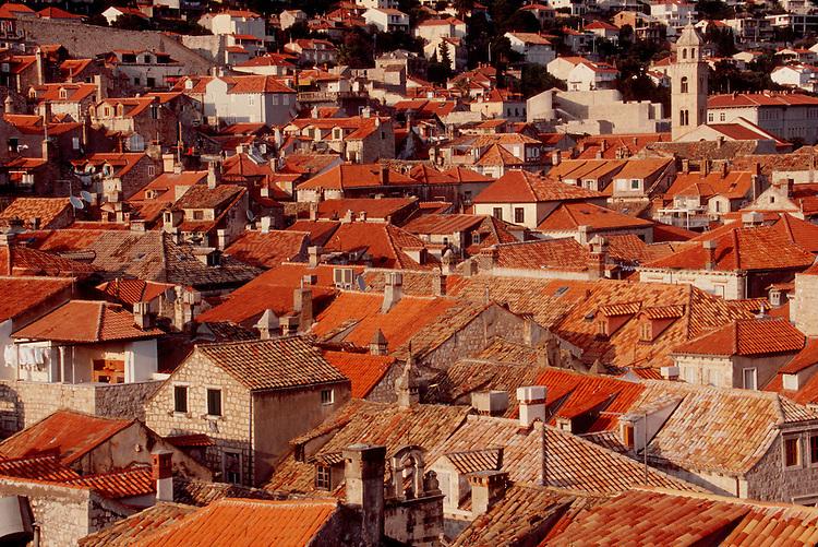 Dubrovnik, Croatia, Fabled clay tiled roofs, Dalmatia, Europe, Dalmatian Coast, Adriatic Sea,