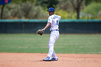 AZL Dodgers second baseman Luis Rodriguez (40) throws to first base during an Arizona League game against the AZL Padres 2 at Camelback Ranch on July 4, 2018 in Glendale, Arizona. The AZL Dodgers defeated the AZL Padres 2 9-8. (Zachary Lucy/Four Seam Images)
