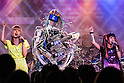 "June 24, 2013, Tokyo, Japan -  Japanese pop-duo Amoyamo perform on stage with Robot band Z-Machines during a special live performance at Liquidroom in downtown Tokyo. The guitarist ""Mach"" can slide, shred and mute as he is also equipped with a body and soul system that allows him to head-bang. The drummer ""Ashura"" consists of 4 snare drums, 2 crash cymbals and 3 bass drums while the keyboardist ""Cosmo"" is equipped with a unique eye beam function. (Photo by Christopher Jue/Nippon News)"