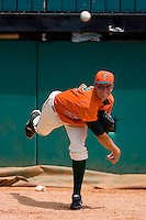 Starting pitcher Johnny Dorn #32 of the Greensboro Grasshoppers warms up in the bullpen at NewBridge Bank Park June 20, 2009 in Greensboro, North Carolina. (Photo by Brian Westerholt / Four Seam Images)