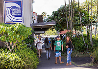Local teenagers near the Pacific Tsunami Musuem in downtown Hilo, Big Island of Hawai'i.