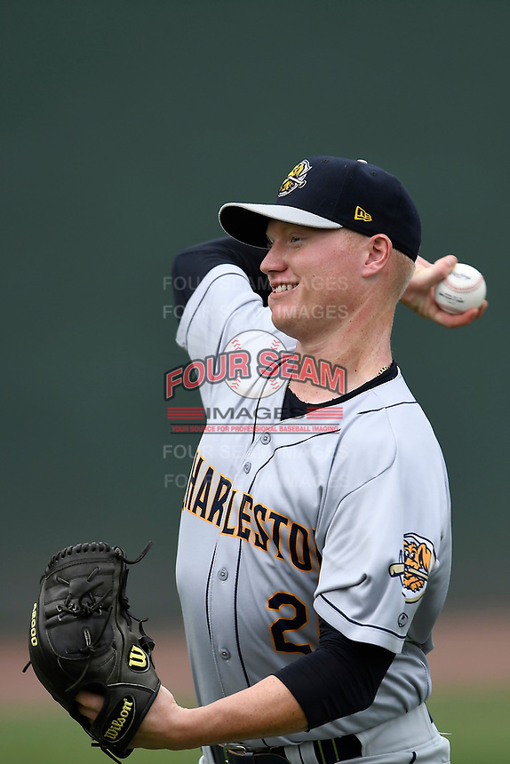 Starting pitcher Nick Nelson (26) of the Charleston RiverDogs warms up before a game against the Greenville Drive on Friday, July 28, 2017, at Fluor Field at the West End in Greenville, South Carolina. Charleston won, 6-1. (Tom Priddy/Four Seam Images)
