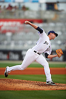 Pensacola Blue Wahoos pitcher Ben Klimesh (22) delivers a pitch during the second game of a double header against the Biloxi Shuckers on April 26, 2015 at Pensacola Bayfront Stadium in Pensacola, Florida.  Pensacola defeated Biloxi 2-1.  (Mike Janes/Four Seam Images)