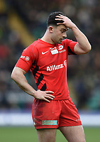 Dom Morris of Saracens looks dejected. Premiership Rugby Cup Final, between Northampton Saints and Saracens on March 17, 2019 at Franklin's Gardens in Northampton, England. Photo by: Patrick Khachfe / JMP