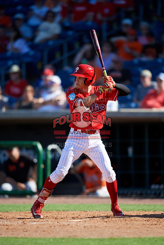 Philadelphia Phillies center fielder Simon Muzziotti (90) at bat during a Grapefruit League Spring Training game against the Baltimore Orioles on February 28, 2019 at Spectrum Field in Clearwater, Florida.  Orioles tied the Phillies 5-5.  (Mike Janes/Four Seam Images)