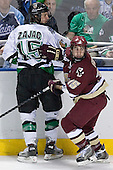 Travis Zajac, Stephen Gionta - The Boston College Eagles defeated the University of North Dakota Fighting Sioux 6-5 on Thursday, April 6, 2006, in the 2006 Frozen Four afternoon Semi-Final at the Bradley Center in Milwaukee, Wisconsin.