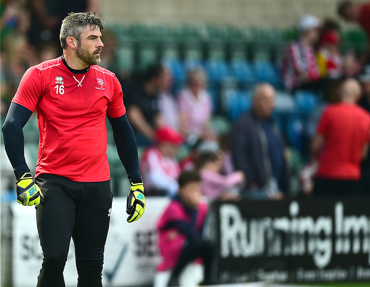 Lincoln City's Matt Gilks during the pre-match warm-up<br /> <br /> Photographer Andrew Vaughan/CameraSport<br /> <br /> The EFL Sky Bet League Two - Lincoln City v Tranmere Rovers - Monday 22nd April 2019 - Sincil Bank - Lincoln<br /> <br /> World Copyright © 2019 CameraSport. All rights reserved. 43 Linden Ave. Countesthorpe. Leicester. England. LE8 5PG - Tel: +44 (0) 116 277 4147 - admin@camerasport.com - www.camerasport.com