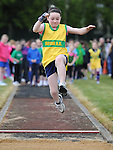 Kate Kelly from Boyne AC taking part in the girls under 10 long jump at Cushinstown AC. Photo: Colin Bell/pressphotos.ie