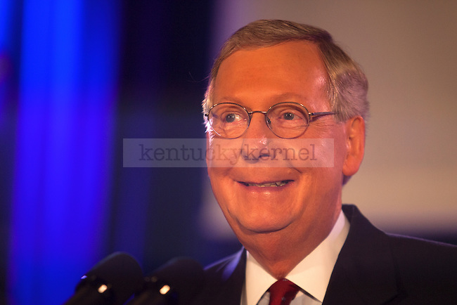 United States Minority Leader Mitch McConnell was all smiles at his victory celebration after defeating challenger Alison Lundergan Grimes in Louisville, Ky.,on Tuesday, November 4, 2014. Photo by Michael Reaves | Staff