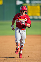 Allen Staton (40) of the Johnson City Cardinals rounds the bases after hitting a home run against the Elizabethton Twins at Joe O'Brien Field on July 11, 2015 in Elizabethton, Tennessee.  The Twins defeated the Cardinals 5-1. (Brian Westerholt/Four Seam Images)