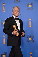 After winning the category of BEST PERFORMANCE BY AN ACTOR IN A TELEVISION SERIES &ndash; MUSICAL OR COMEDY for his role in &quot;The Kominsky Method,&quot; actor Michael Douglas poses backstage in the press room with his Golden Globe Award at the 76th Annual Golden Globe Awards at the Beverly Hilton in Beverly Hills, CA on Sunday, January 6, 2019.<br /> *Editorial Use Only*<br /> CAP/PLF/HFPA<br /> Image supplied by Capital Pictures