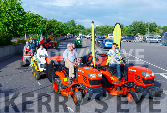 The drivers line up at the start of the Lawnmower run in Killorglin on Friday evening.