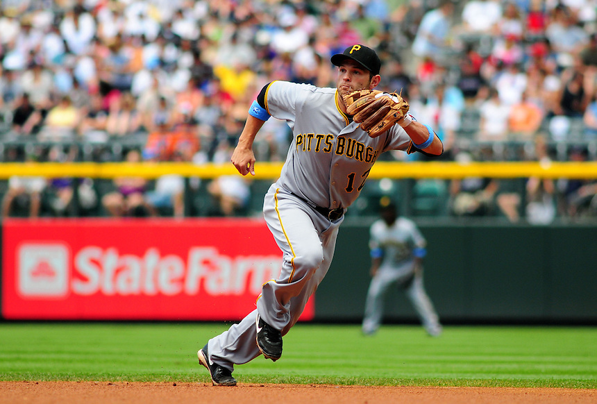 June 21, 2009: Pirates 2nd baseman Freddy Sanchez moves to field a ground ball during a game between the Pittsburgh Pirates and the Colorado Rockies at Coors Field in Denver, Colorado. The Rockies beat the Pirates 5-4, to improve to 16-1 in the last 17 games.