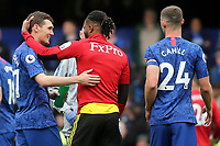 Former Chelsea player, Nathaniel Chalobah of Watford with Chelsea's Andreas Christensen at the final whistle during Chelsea vs Watford, Premier League Football at Stamford Bridge on 5th May 2019