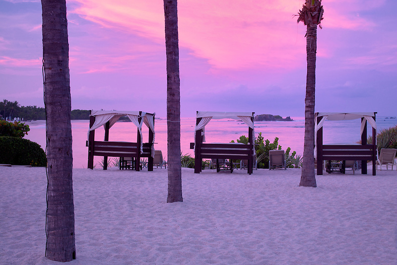 Beach chairs and sunrise at Four Seasons. Punta Mita Mexico.
