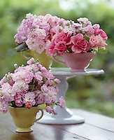 Teacups sitting on a cake stand are filled with stocks and roses