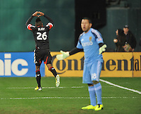 Lionard Pajoy (26) of D.C. United celebrates his score. D.C. United defeated Real Salt Lake 1-0 in their home opener, at RFK Stadium, Saturday March 9, 2013.
