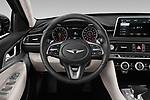 Car pictures of steering wheel view of a 2019 Genesis G70  Prestige 4 Door Sedan
