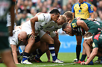 Anthony Perenise of Bath Rugby prepares to scrummage against his opposite number. Aviva Premiership match, between Leicester Tigers and Bath Rugby on September 3, 2017 at Welford Road in Leicester, England. Photo by: Patrick Khachfe / Onside Images