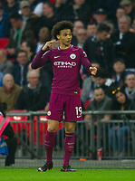 Manchester City Leroy Sane during the Premier League match between Tottenham Hotspur and Manchester City at Wembley Stadium, London, England on 14 April 2018. Photo by Andrew Aleksiejczuk / PRiME Media Images.
