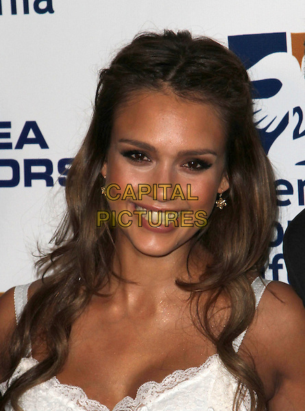 Jessica Alba.Covenant House California 2011 Gala and Awards Dinner Held At The Skirball Cultural Center, Los Angeles, California, USA..June 9th, 2011.headshot portrait white lace smiling .CAP/ADM/KB.©Kevan Brooks/AdMedia/Capital Pictures.