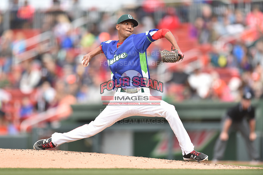 Greenville Drive starting pitcher Roniel Raudes (34) delivers a pitch during a game against the Asheville Tourists at Fluor Field on April 10, 2016 in Greenville South Carolina. The Drive defeated the Tourists 7-4. (Tony Farlow/Four Seam Images)