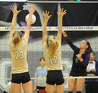 NWA Democrat-Gazette/ANDY SHUPE<br /> of Fayetteville of Bentonville Thursday, Sept. 24, 2015, during play at Fayetteville High. Visit nwadg.com/photos to see more photographs from the match.