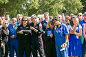 Durham and regional emergency personnel comfort each other after a memorial service at Duke Chapel for the three Duke LifeFlight team members and patient who died in a helicopter crash on September 8. RN flight nurses Kris Harrison and Crystal Sollinger, pilot Jeff Burke, were transporting and treating patient Mary Bartlett, 70, when the LifeFlight helicopter crashed.