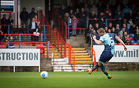 Dayle Southwell of Wycombe Wanderers scores from the penalty spot during the pre season friendly match between Aldershot Town and Wycombe Wanderers at the EBB Stadium, Aldershot, England on 22 July 2017. Photo by Andy Rowland.