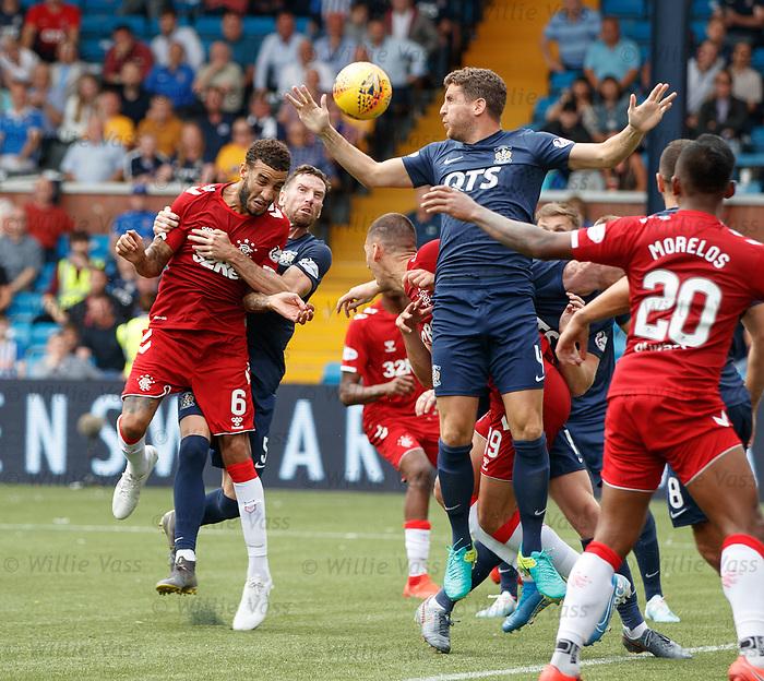 04.08.2019 Kilmarnock v Rangers: Connor Goldson heads in the winner for Rangers