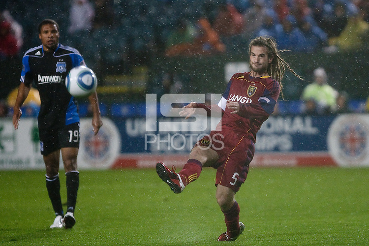 Kyle Beckerman kicks the ball. Real Salt Lake defeated the San Jose Earthquakes 1-0 at Buck Shaw Stadium in Santa Clara, California on March 19th, 2011.