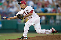 South Carolina pitcher John Taylor in Game 10 of the NCAA Division One Men's College World Series on June 24th, 2010 at Johnny Rosenblatt Stadium in Omaha, Nebraska.  (Photo by Andrew Woolley / Four Seam Images)