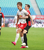 27th May 2020, Red Bull Arena, Leipzig, Germany; Bundesliga football, RB Leipzig versus Hertha Berlin; Dani Olmo (25, RB Leipzig) grapples for the ball with Vladimir Darida (6, Berlin).